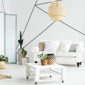 Contemporary decor for living room in white