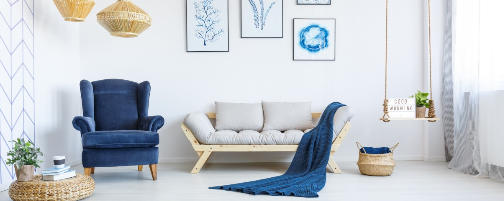 Blue, dove grey and white living room theme with woven reed elements