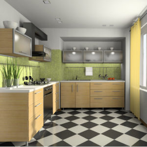 Woody green and white colours Japanese zen elements in a modern kitchen