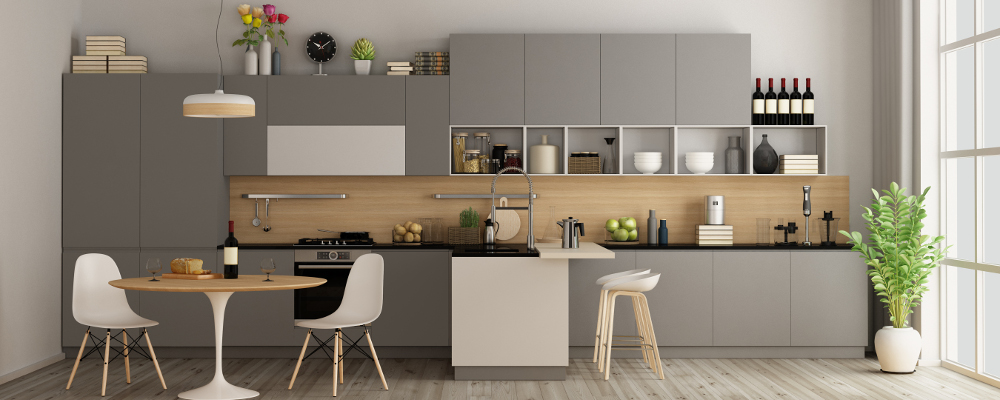 Fully equipped modern kitchen and dining area of a resale flat