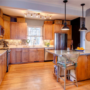 Old school timber kitchen given a modern face-lift with quartz countertop