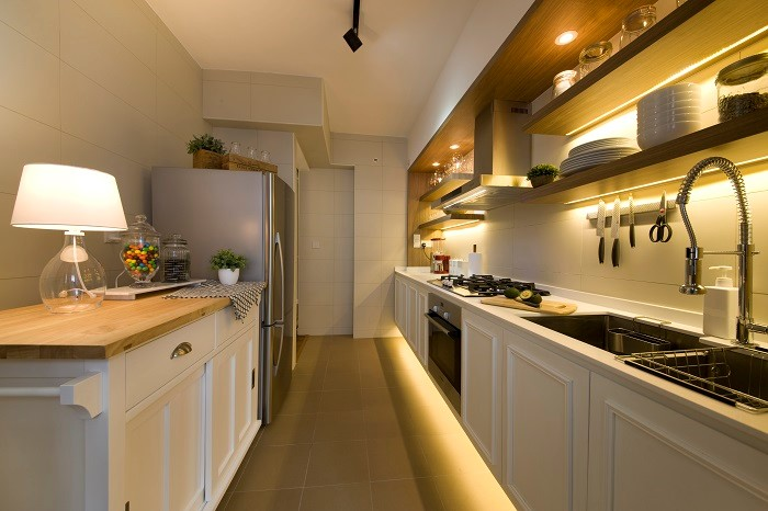 kitchen with mood lighting