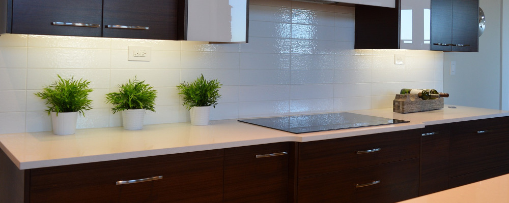clean solid surface kitchen countertop