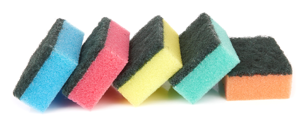 Sponge for washing dishes and scrubbing surfaces