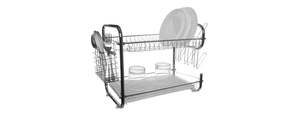 Double tiered stainless steel dish drainer