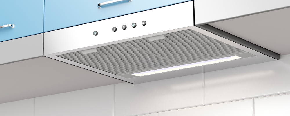 Baby blue designer kitchen range hood