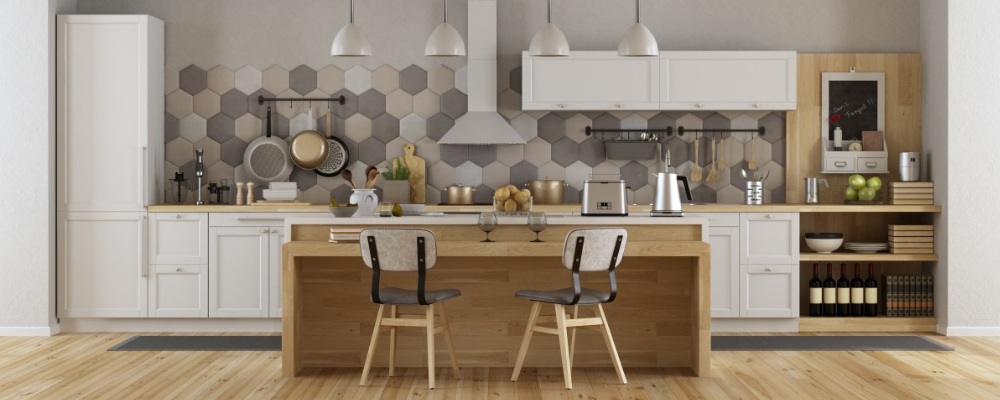 Hexagon adhesive tiles for modern kitchen backsplash