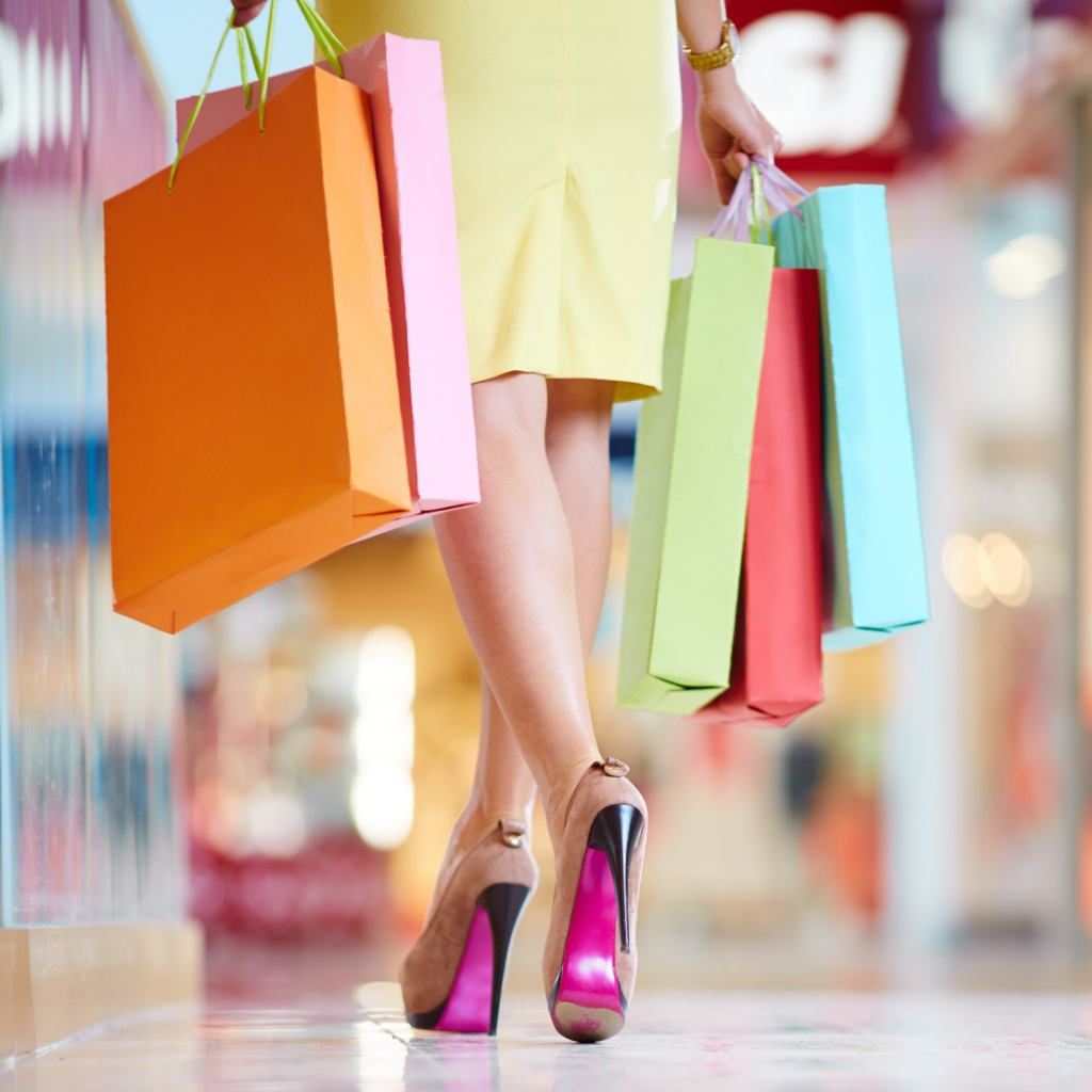 Lady on a shopping spree during sale