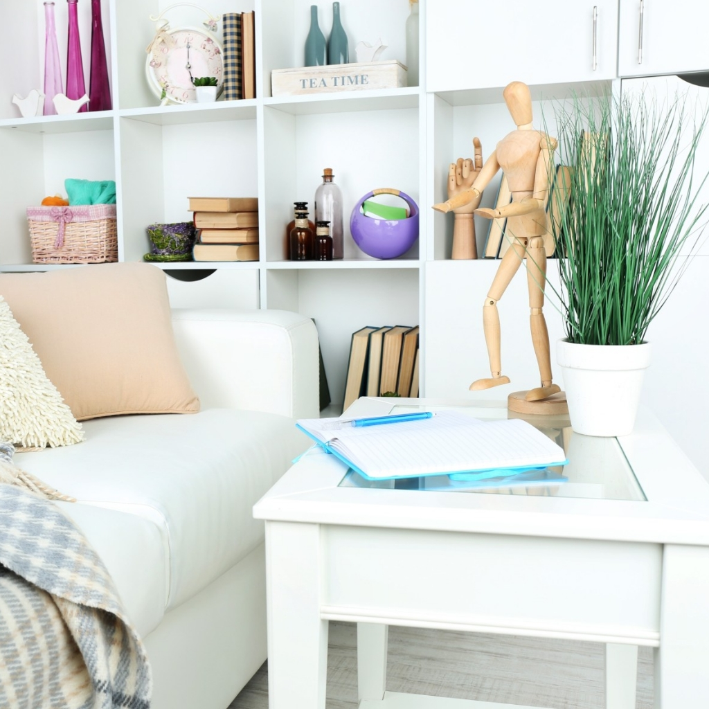 white open shelves with colourful decoration