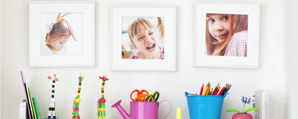 Photos of kids on the wall with children craft stationery
