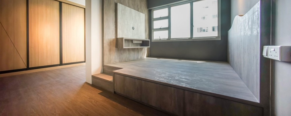 Custom-made bed platform storage with drawers for bedroom