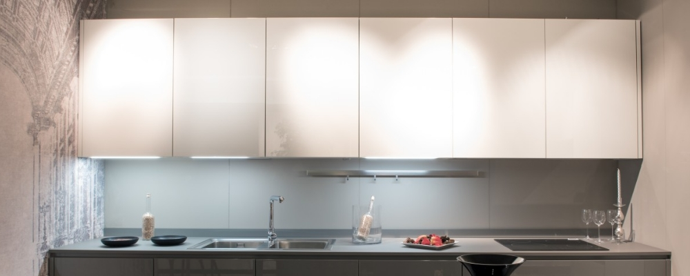 Modern overhead kitchen cabinets for organising kitchen supplies