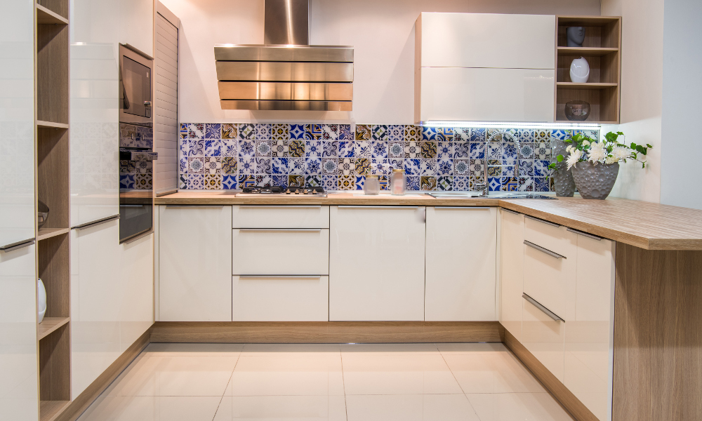 Vintage Peranakan tiles kitchen backsplash against modern kitchen furnishing for Singapore HDB