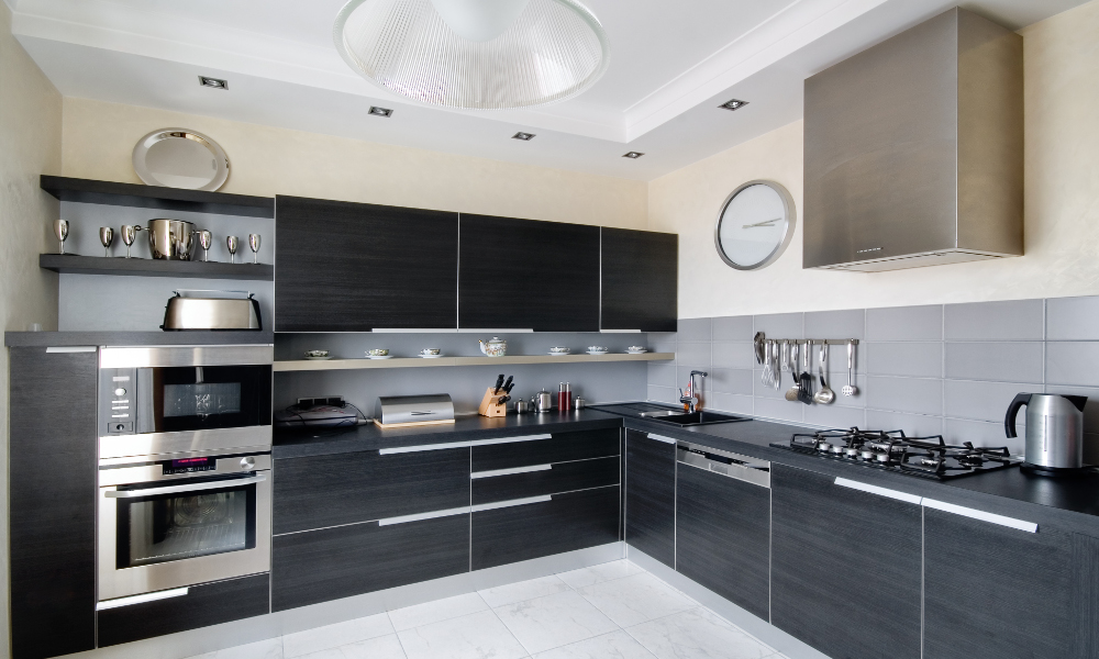 monochrome black and white kitchen decor