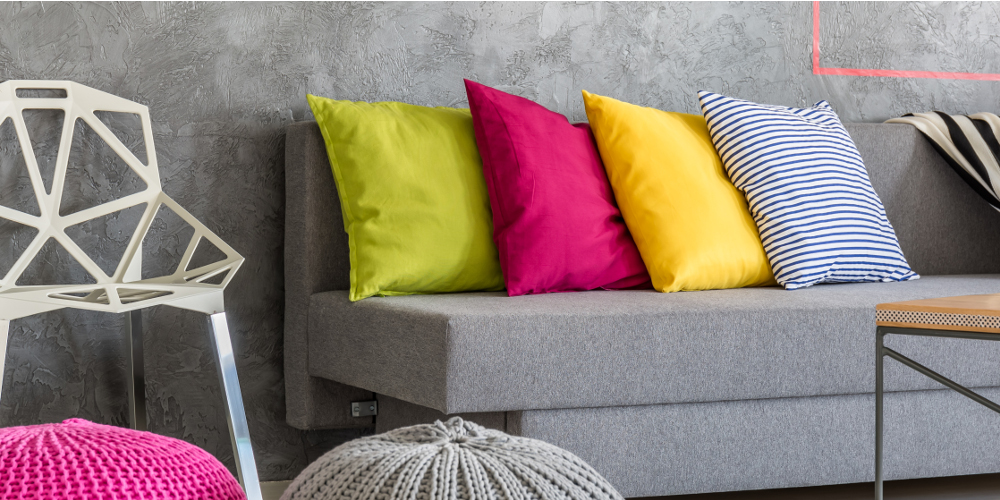 Fun and colourful throw pillows for sofa