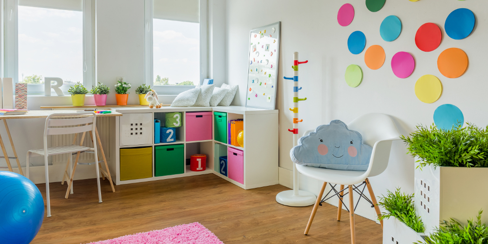 Colourful storage ideas for children playroom