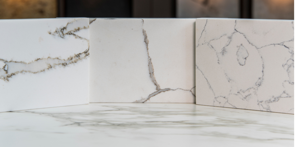 Sample slabs of quartz tiles