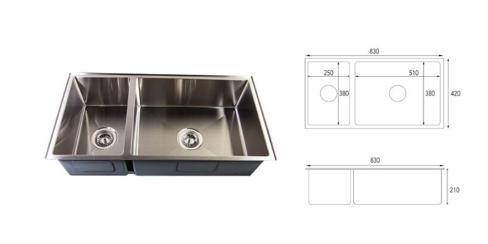 Double basin leakproof Aurasink Duo830