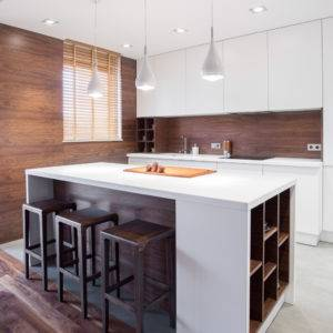 White and modern kitchen island in the house