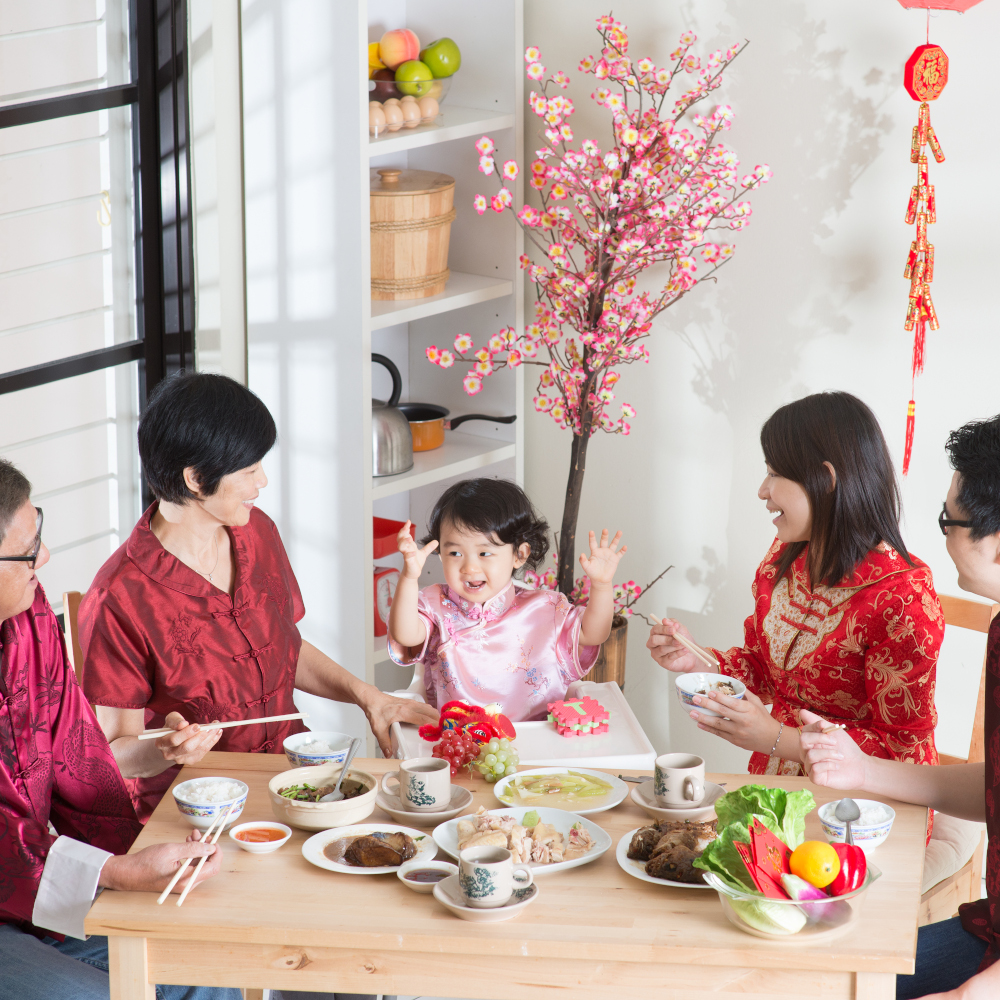 Multi-generation family dining together during Chinese New Year