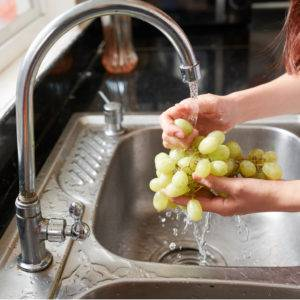 Rinsing organic grapes at the kitchen sink