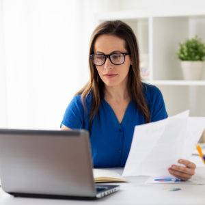 Professional woman working from home office