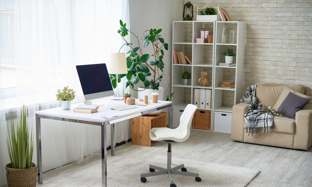 Home office with natural lighting setup in living room