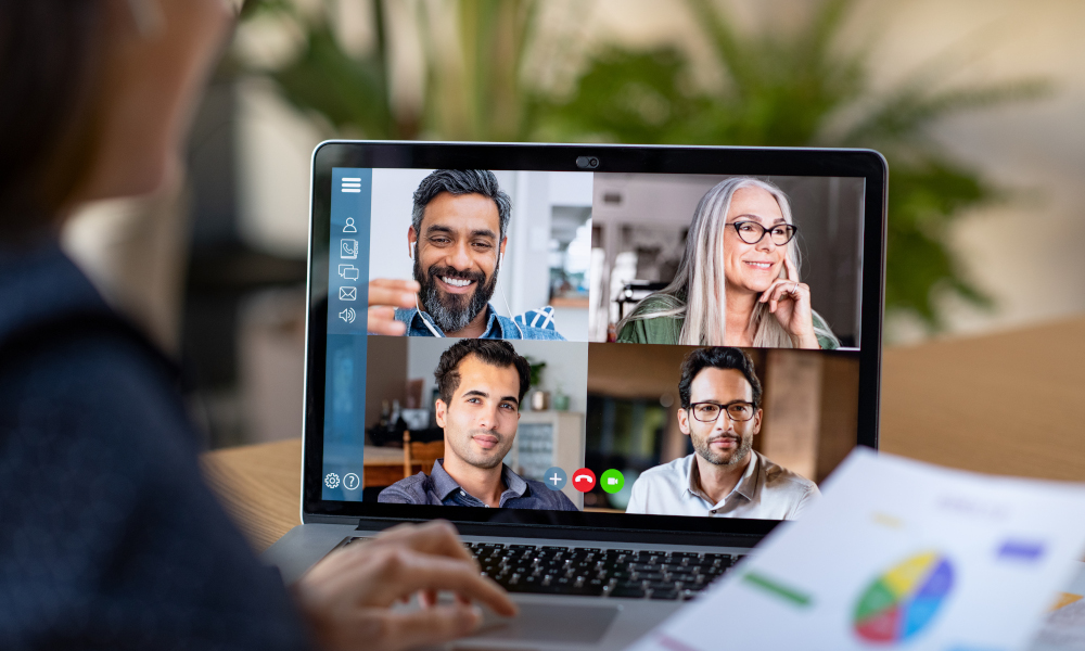 Video conferencing from home office with colleagues