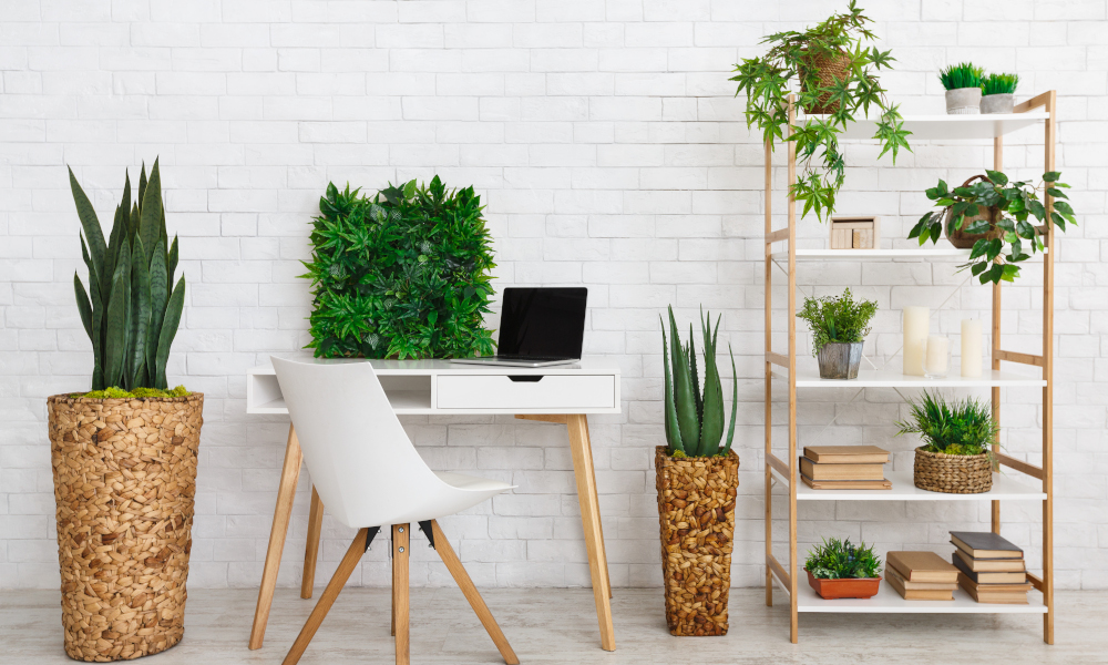 Cosy workstation with decorative potted plants