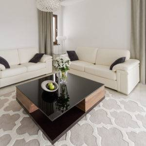 Fancy shining coffee table in up-to-date designed lounge