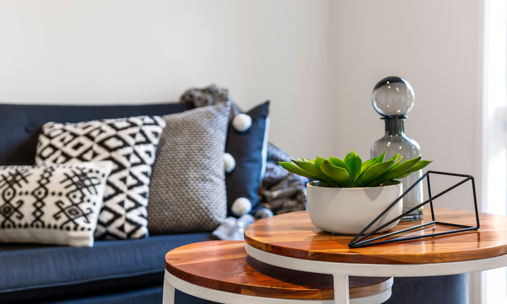 Wooden nesting tables in the living room