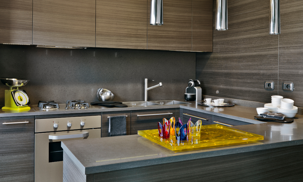 Interiors of a U-Shape modern wooden kitchen