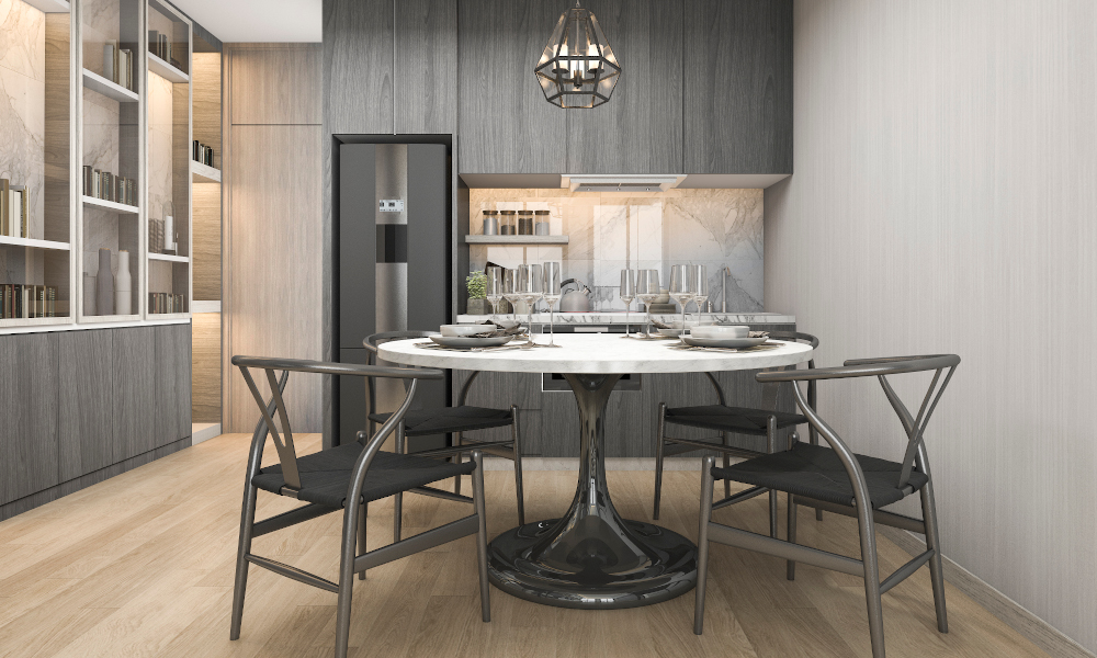 Marble round dining table in luxury kitchen