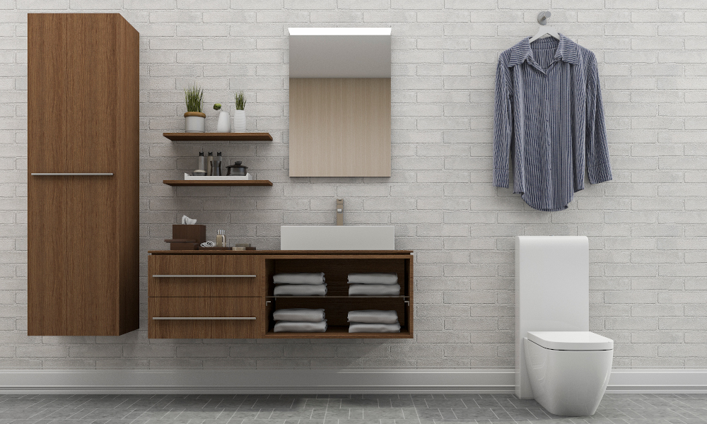 Simplet toilet layour with wooden storage cabinets, open racks for towels and toiletries