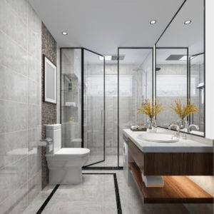 Sleek modern bathroom with glass panels for shower and quartz bathroom countertop