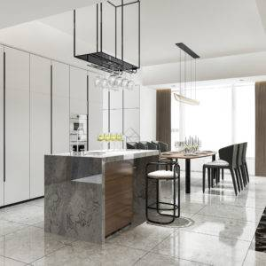 Stylish modern granite kitchen island with extended dining table