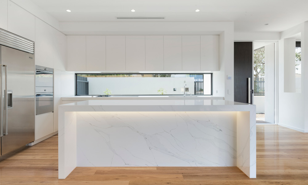 Elegant marble-like quartz kitchen island