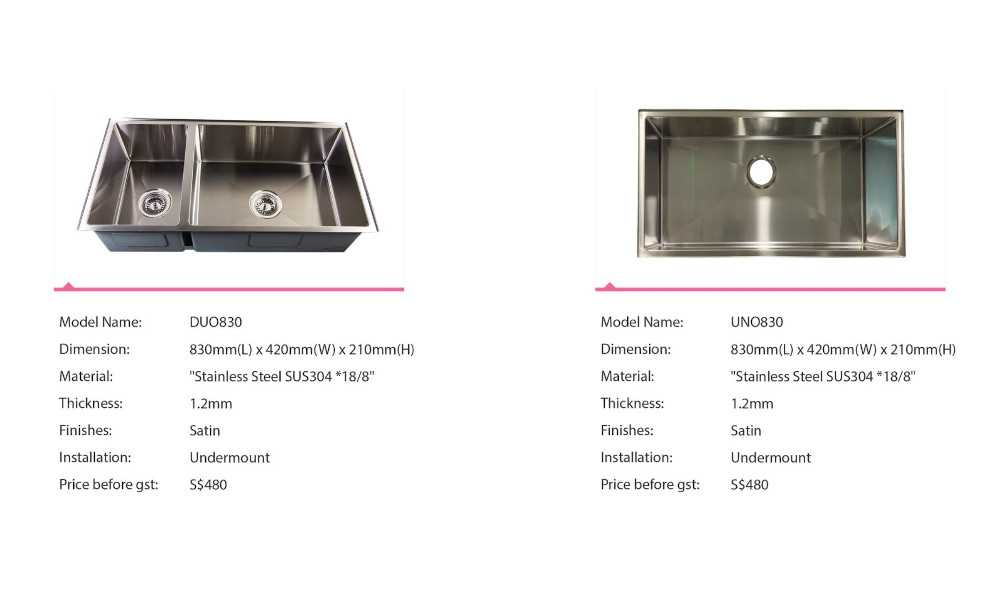 Aurasink Leakproof Stainless Steel Kitchen Sink - Single Bowl and Double Bowl Large Sink