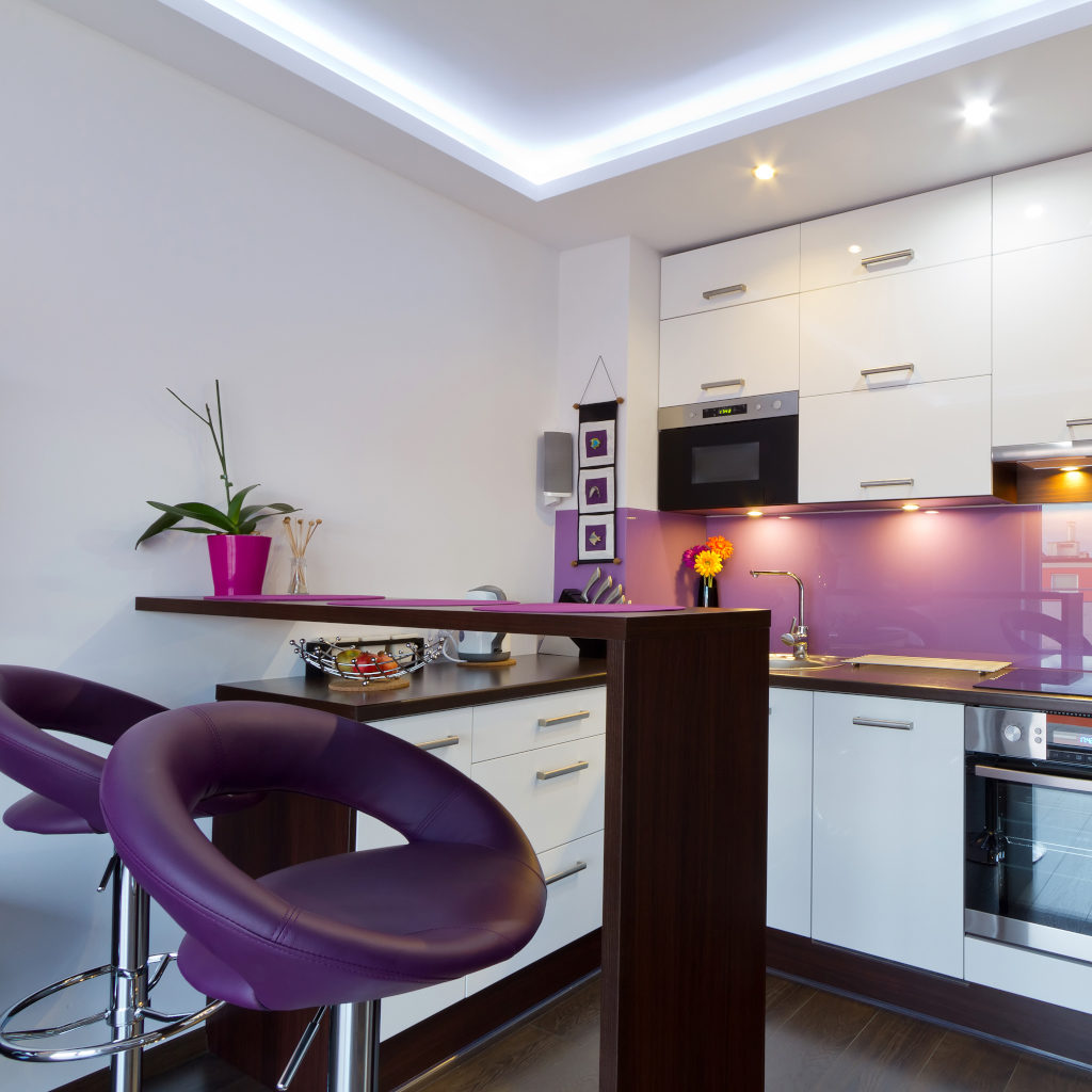 Purple theme bar counter, kitchen with purple backsplash