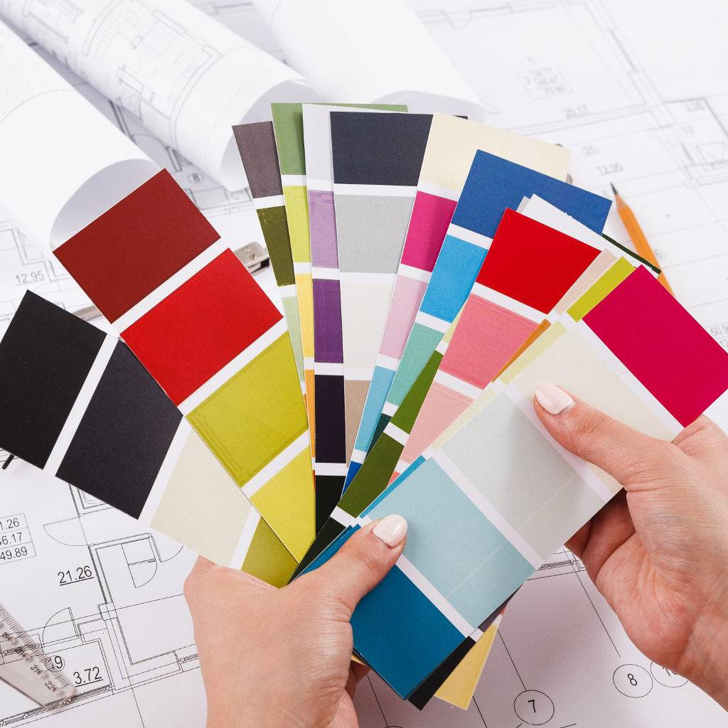 Choosing colour swatches for wall paint
