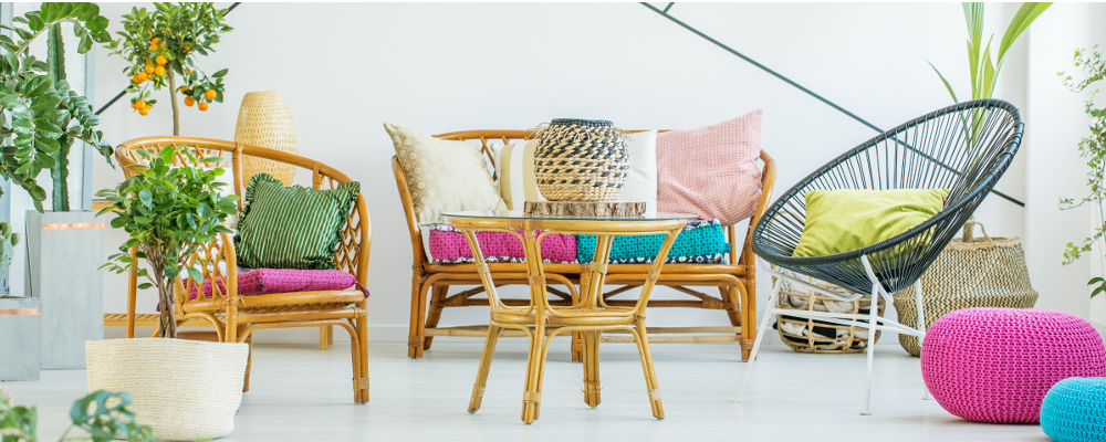 Rattan Furniture in Living Room with Pop of Colour and Greenery