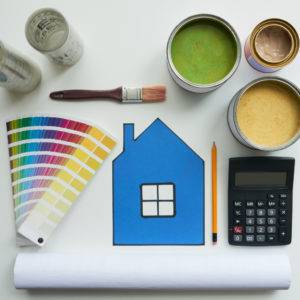 Color palette and various paints for home renovation on a budget