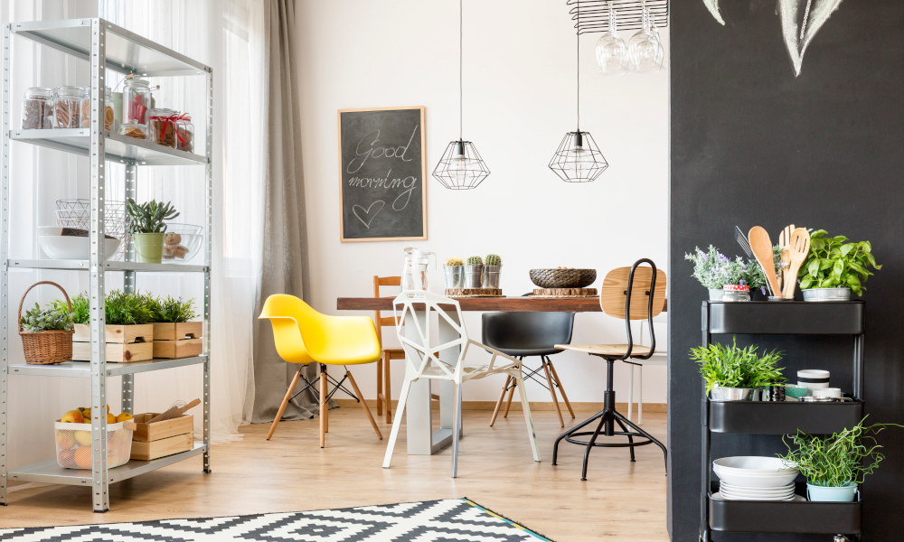Quirky dining room with mismatched chairs at dining table
