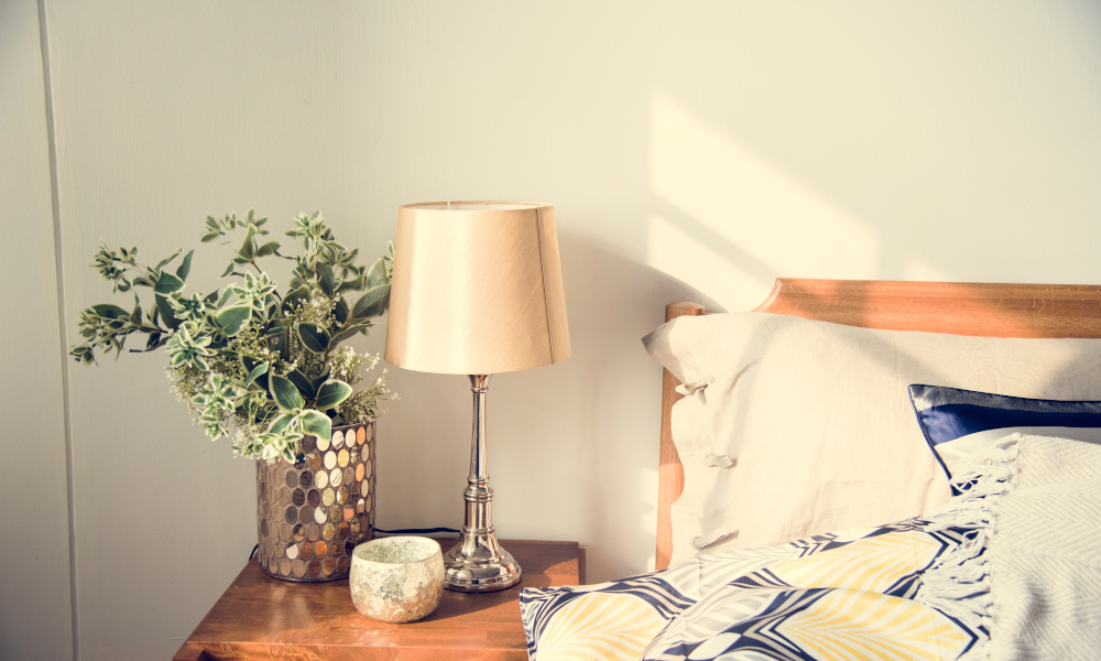 Bedside table and lamp