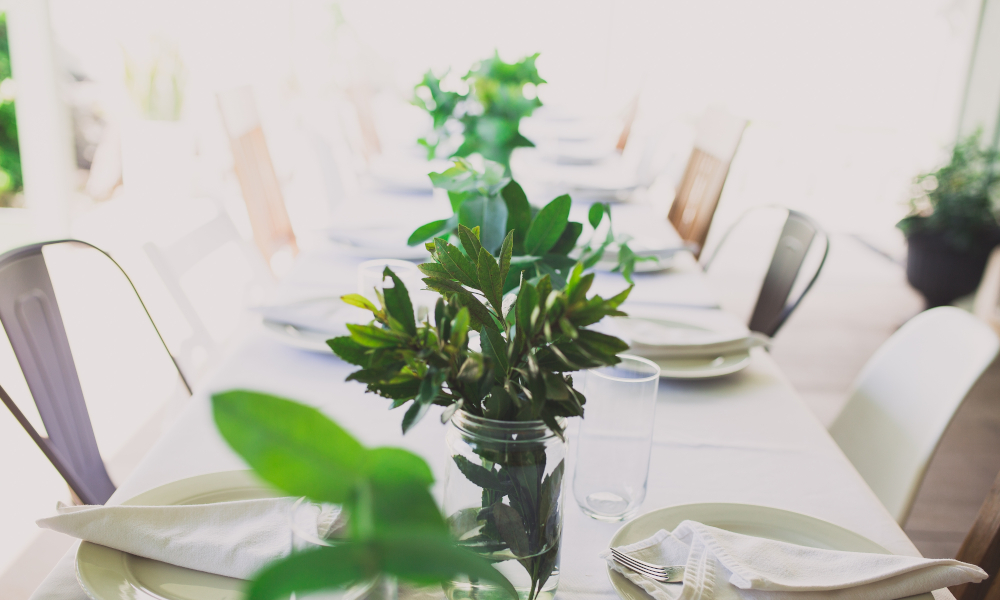 Dinner party table setup with plant centrepieces