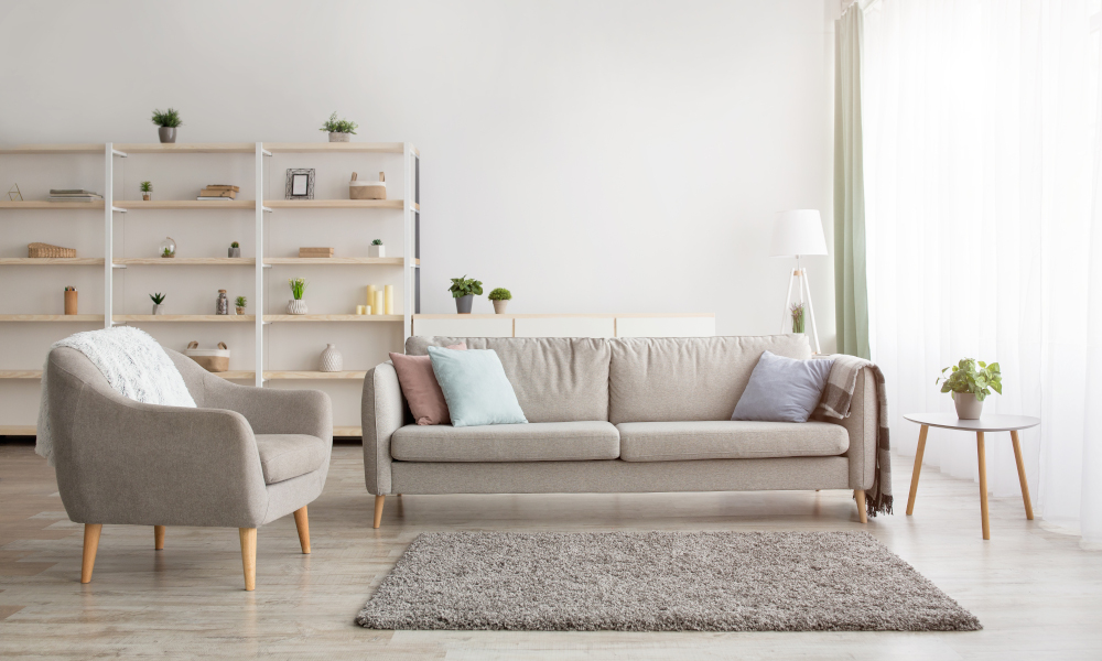 Calm and neutral colour scheme for living room