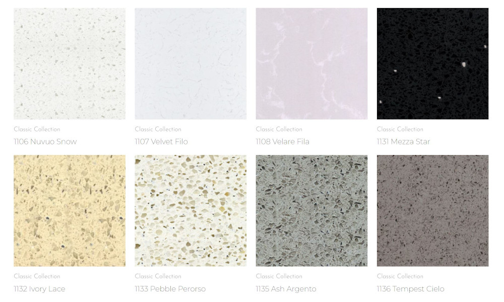 Aurastone Quartz Classic Collection in different colours and patterns