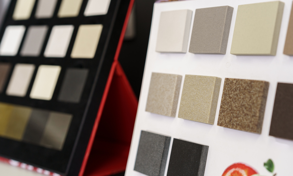 Display with decorative artificial stone samples for interior in a shop