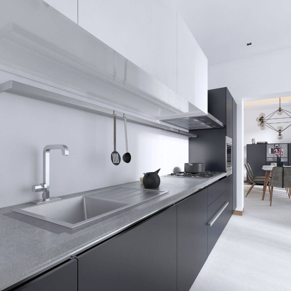 Brushed stainless steel kitchen countertop and stainless steel sink